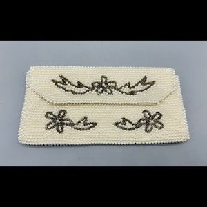 Vintage Beaded Wallet In Antique White and Gray